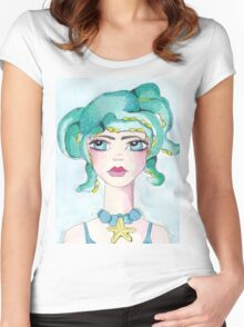 Girl and her octopus Women's Fitted Scoop T-Shirt