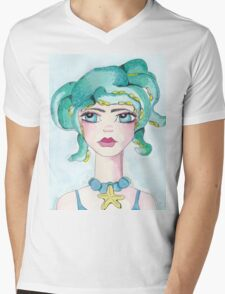 Girl and her octopus Mens V-Neck T-Shirt