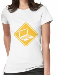 danger warning sign caution laptop notebook tablet computer pc mobile screen Womens Fitted T-Shirt