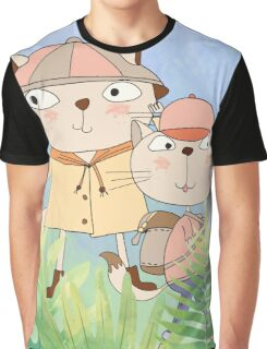 Cute Cartoon Pets Hiking Cats Graphic T-Shirt
