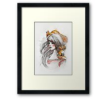 Woman among foxes Framed Print