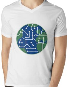 earth technology networked data information electronically future technology future planet Mens V-Neck T-Shirt
