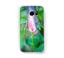 Exploding Red garden rose bud on a lush green background  Samsung Galaxy Case/Skin