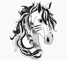 Beautiful Hand Drawn Digital Art Black White Horse  One Piece - Long Sleeve