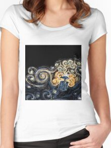 Doctor Who- Van Gogh Tardis Women's Fitted Scoop T-Shirt