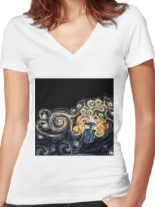 Doctor Who- Van Gogh Tardis Women's Fitted V-Neck T-Shirt