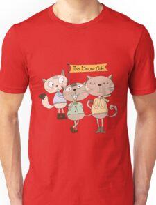 Cute Cartoon Animals Funny Cats Meow Club Unisex T-Shirt