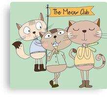 Cute Cartoon Animals Funny Cats Meow Club Canvas Print