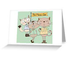 Cute Cartoon Animals Funny Cats Meow Club Greeting Card
