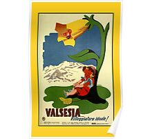 Valsesia children appealing vintage Italian travel ad  Poster