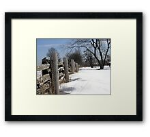 Wooden Fence. Christmas. New Year. Framed Print