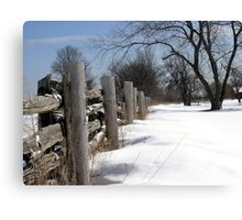 Wooden Fence. Christmas. New Year. Canvas Print