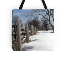 Wooden Fence. Christmas. New Year. Tote Bag
