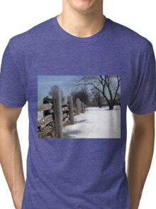 Wooden Fence. Christmas. New Year. Tri-blend T-Shirt