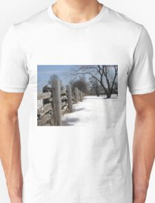 Wooden Fence. Christmas. New Year. Unisex T-Shirt