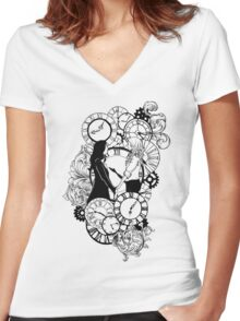 Time Led Me To You (Line Art Version) Women's Fitted V-Neck T-Shirt
