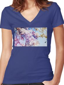 Cherry flowers Women's Fitted V-Neck T-Shirt
