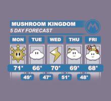Mushroom Kingdom 5 Day Weather Forecast Kids Tee