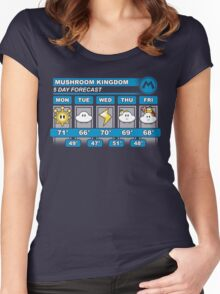 Mushroom Kingdom 5 Day Weather Forecast Women's Fitted Scoop T-Shirt