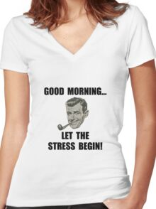 Morning Stress Women's Fitted V-Neck T-Shirt