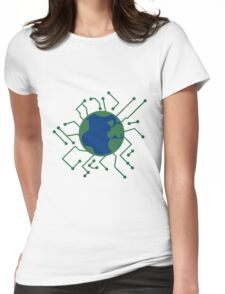 earth planet home blue sphere electric electronic future virtually networked lines microchip technology Womens Fitted T-Shirt