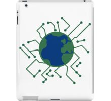 earth planet home blue sphere electric electronic future virtually networked lines microchip technology iPad Case/Skin