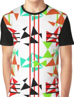 Trendy Bold Bright Colorful Abstract Geometric Design Graphic T-Shirt