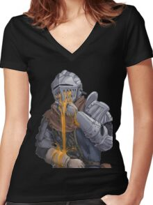 Oscar puking estus Women's Fitted V-Neck T-Shirt