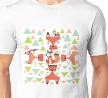 Cartoon Animals Tribal Woodland Foxes Unisex T-Shirt