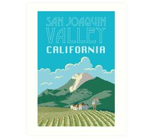 San Joaquin Valley California Travel Poster Art Print