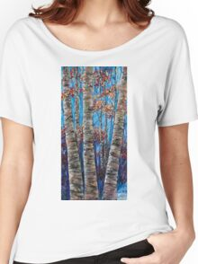 Aspen forest in the Rocky Mountains (Palette Knife) Women's Relaxed Fit T-Shirt