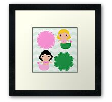 Cute Mermaids with banners - pink and green Framed Print