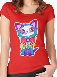 Kawaii and cute Blue Crystal Kitty  Women's Fitted Scoop T-Shirt