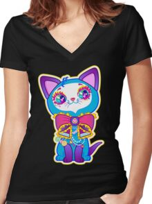 Kawaii and cute Blue Crystal Kitty  Women's Fitted V-Neck T-Shirt
