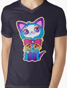 Kawaii and cute Blue Crystal Kitty  Mens V-Neck T-Shirt