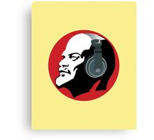 Lenin with Headphones (Yellow and Red) Canvas Print