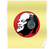 Lenin with Headphones (Yellow and Red) Poster