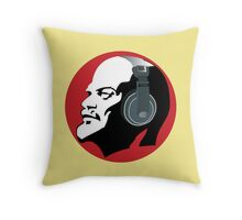 Lenin with Headphones (Yellow and Red) Throw Pillow