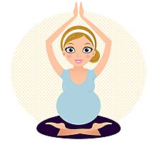 Pregnant woman in Yoga pose Photographic Print