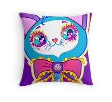 Kawaii and cute Blue Crystal Kitty  Throw Pillow