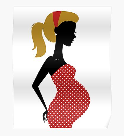 Pregnant woman silhouette Illustration Poster