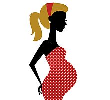 Pregnant woman silhouette Illustration Photographic Print