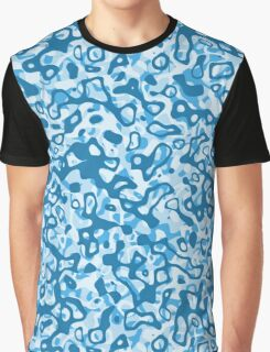 Multi Layer Abstract Pattern Blue Tones Graphic T-Shirt