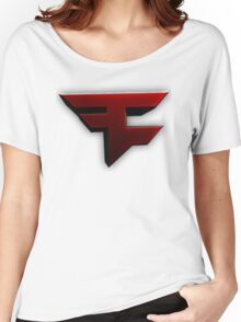 Faze Clan | Red Logo | White Background | High Quality Women's Relaxed Fit T-Shirt