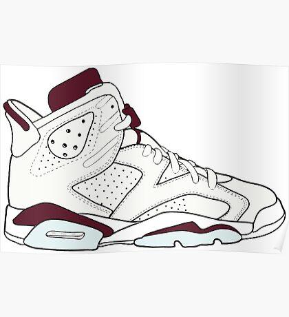 """Air Jordan VII (6) """"Maroon"""" Poster"""
