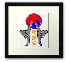 taekwondo badge grey korean martial art kick and punch Framed Print