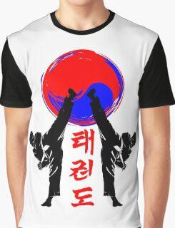 taekwondo badge black high kick korean martial art kick and punch Graphic T-Shirt