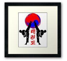 taekwondo badge black high kick korean martial art kick and punch Framed Print