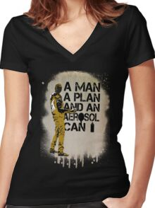 A Man, A Plan and an Aerosol Can Women's Fitted V-Neck T-Shirt