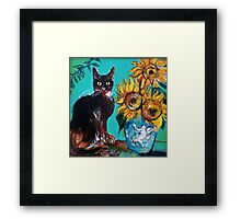 SUNFLOWERS WITH BLACK CAT IN BLUE TURQUOISE  Framed Print